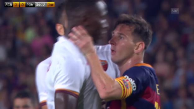 Video «Fussball: Testspiel Barcelona - Roma, Messis mit Kopfnuss und Rakitic mit Traumtor» abspielen