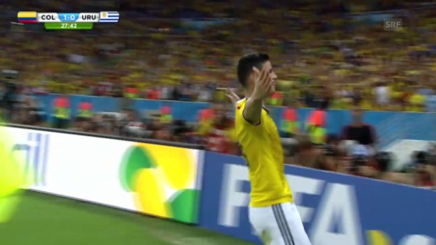 Video «FIFA WM 2014: Die Tore von James Rodriguez gegen Uruguay» abspielen