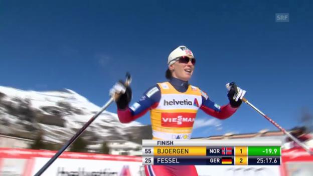 Video «Ski nordisch: Weltcup in Davos, Siegerin Marit Björgen» abspielen