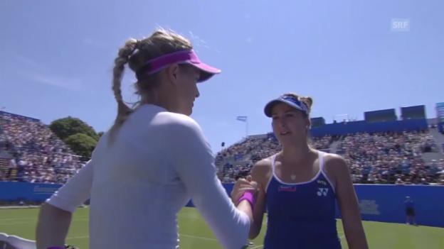 Video «Tennis: WTA Eastbourne, Achtelfinal, Bouchard muss aufgeben» abspielen