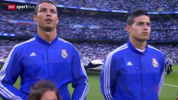 Video «Fussball: Champions League, Cristiano Ronaldo singt Hymne» abspielen