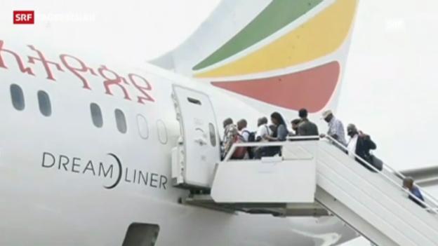 Video «Erster Linienflug nach langer Zwangspause» abspielen