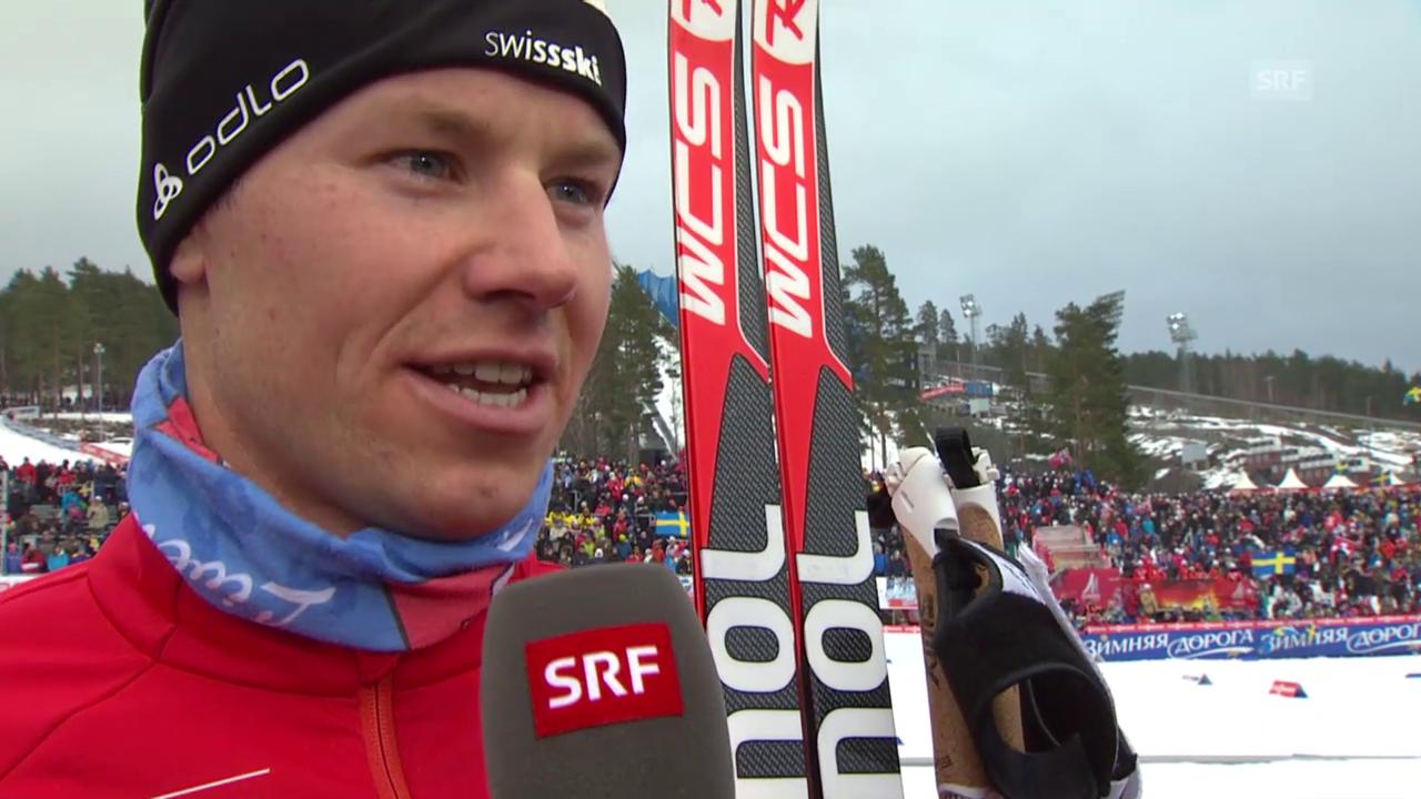 Langlauf: WM Falun, 15 km Skating, Interview Toni Livers