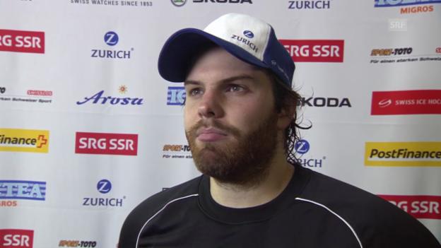 Video «Eishockey: Arosa Challenge, Weissrussland - Schweiz, Interview mit Benjamin Conz» abspielen