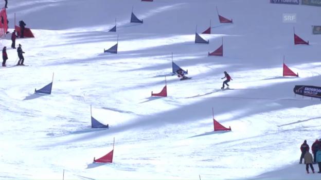 Video «Schweizer Snowboarder stehen zu dritt auf dem Weltcup-Podest» abspielen