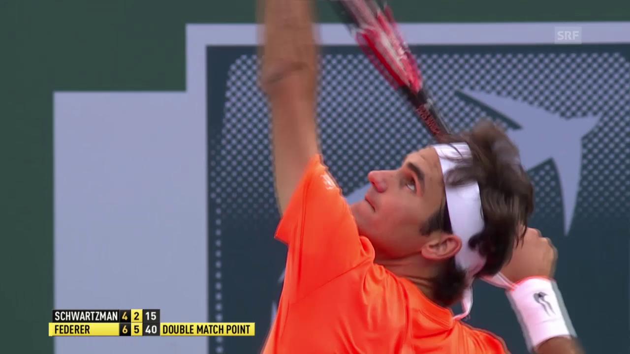 Tennis: ATP, Indian Wells, 2. Runde, Federer - Schwartzmann