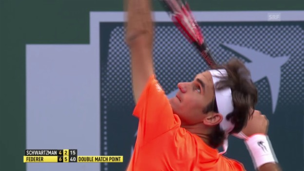 Video «Tennis: ATP, Indian Wells, 2. Runde, Federer - Schwartzmann» abspielen