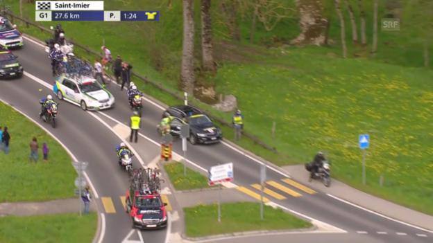 Video «Rad: Tour de Romandie 2015, 2. Etappe, Sturz Jesper Hansen» abspielen