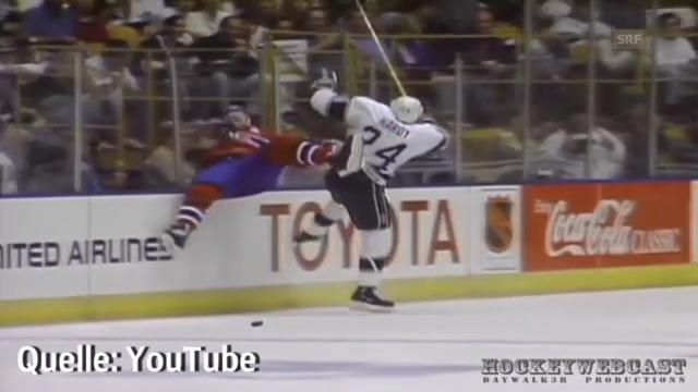 Mark Hardys Check im Stanley Cup Final 1993 gegen Mike Keane.