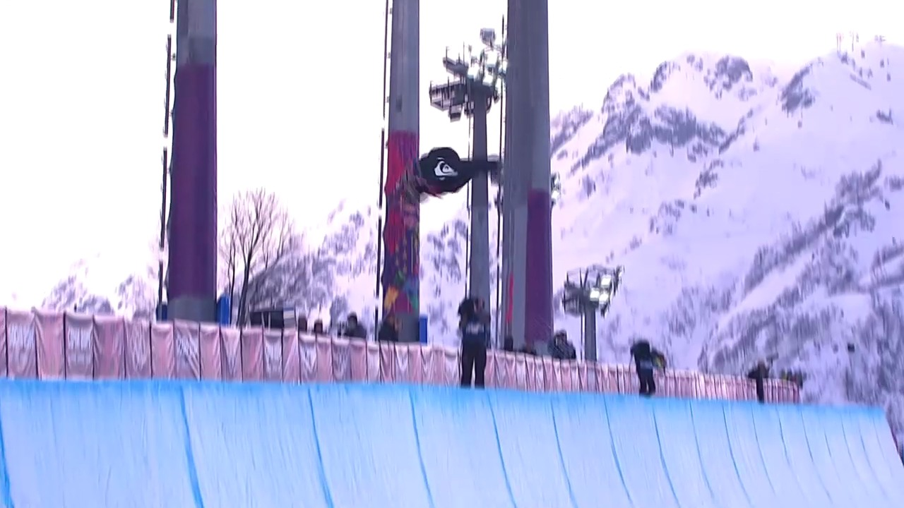 Snowboard: Halfpipe Männer, Quali, 2. Run Iouri Podladtchikov (sotschi direkt, 11.2.2014)