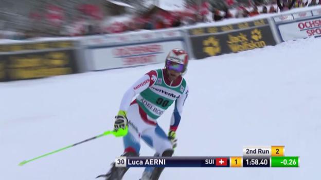 Video «Ski: Slalom Adelboden, 2. Lauf Aerni» abspielen