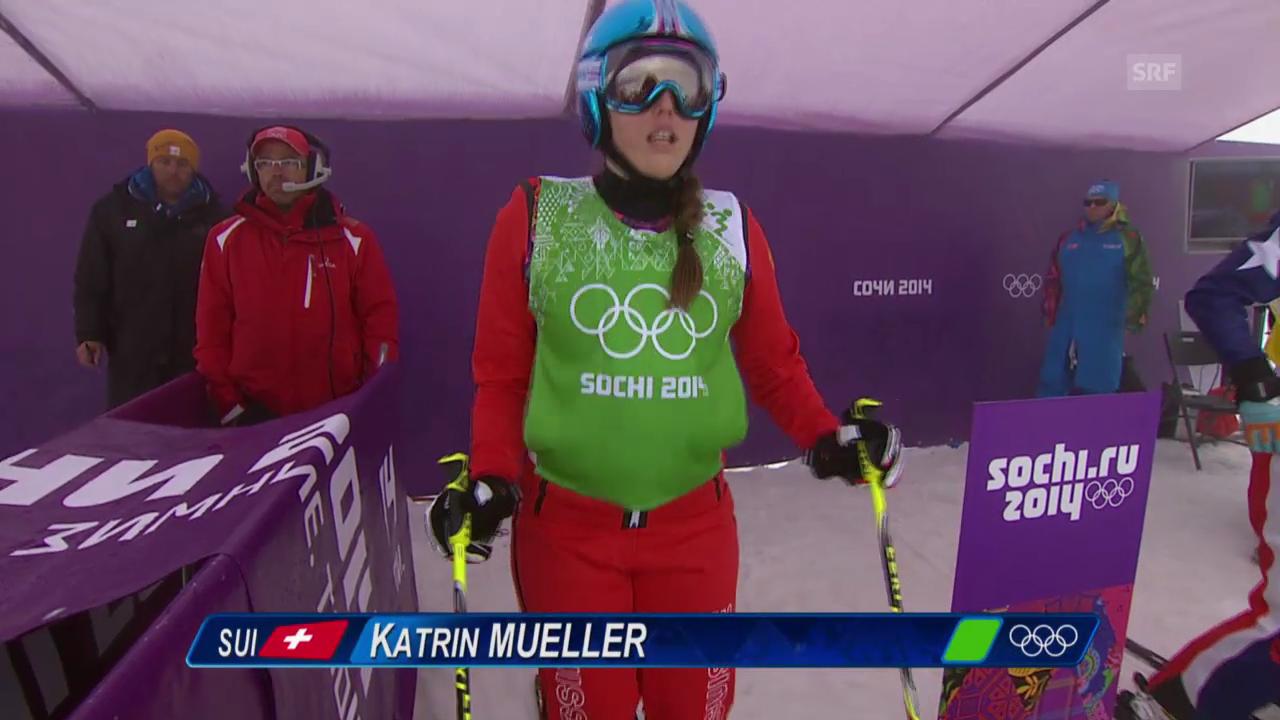 Skicross: Frauen, Viertelfinal mit Katrin Müller (sotschi direkt, 21.2.2014)