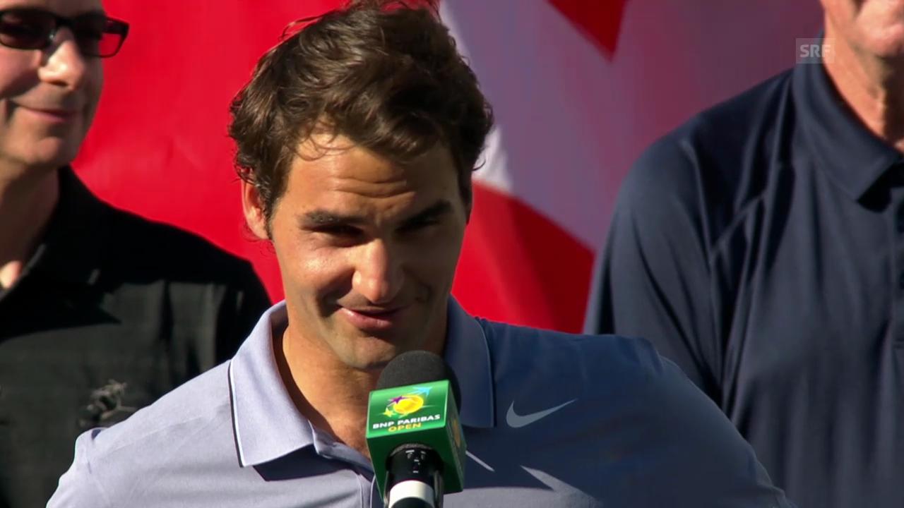 Roger Federer bei der Siegerehrung («sportlive», 16.03.2014)