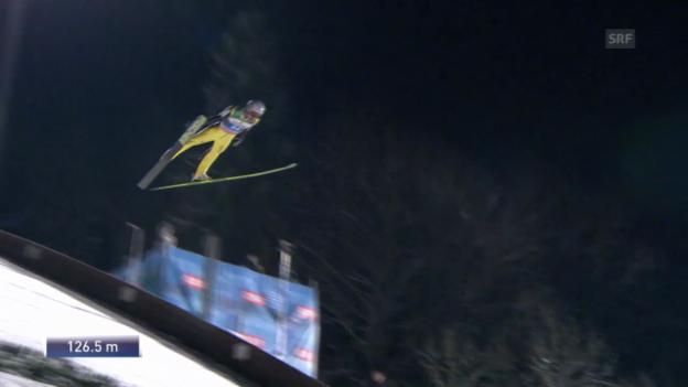 Video «Skispringen: Vierschanzentournee, 4. Springen in Bischofshofen, Gregor Deschwanden» abspielen