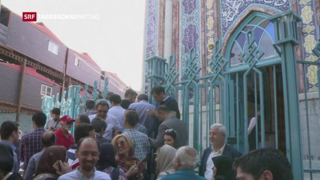 Video «Iran: Lange Warteschlange vor Wahllokalen» abspielen