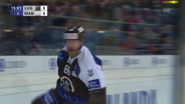 Video «Eishockey: Spengler Cup 2015, Lugano-Adler Mannheim, 4:3 Klasen» abspielen