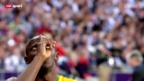 Video «Leichtathletik-WM: Bolt vor dem 100-m-Final» abspielen