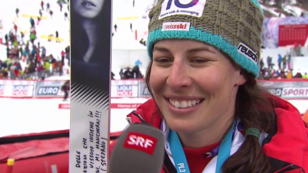 Video «Ski: Weltcupfinale Méribel, Riesenslalom Frauen, Interview Dominique Gisin 1» abspielen