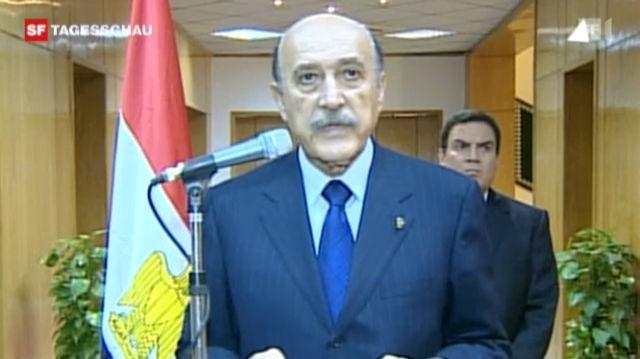Rücktrittserklärung durch Vize-Präsident Suleiman