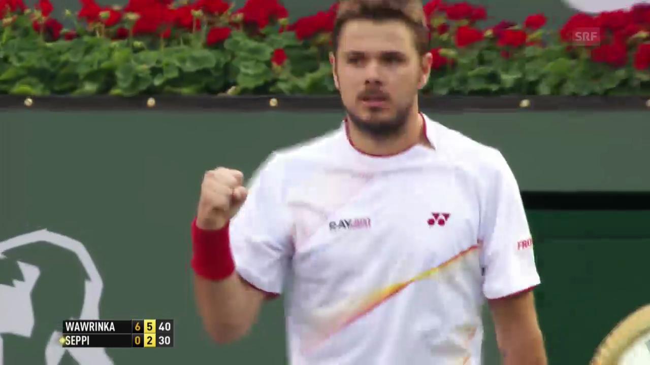 Tennis: ATP 1000 in Indian Wells, Sechzehntelfinal Wawrinka - Seppi, Entscheidende Ballwechsel (11.03.2014)