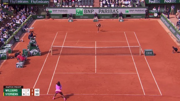 Video «Tennis: French Open, Matchball Serena Williams vs. Sloane Stephens» abspielen
