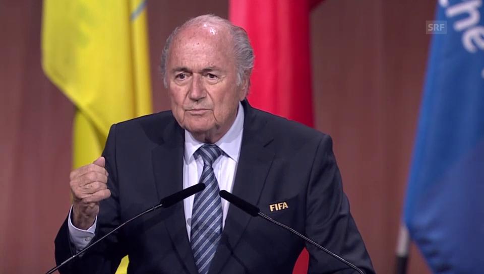Ein sichtlich erleichterter Fifa-Präsident nach der Wiederwahl.