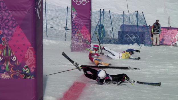 Video «Skicross: Foto-Finish Viertelfinal (sotschi direkt, 20.02.14)» abspielen