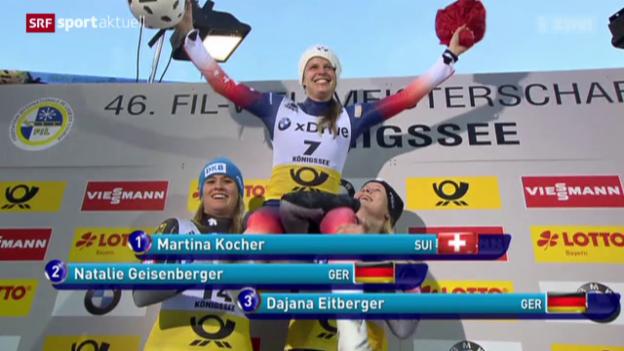 Video «Rodlerin Martina Kocher holt in Königssee sensationell den WM-Titel» abspielen