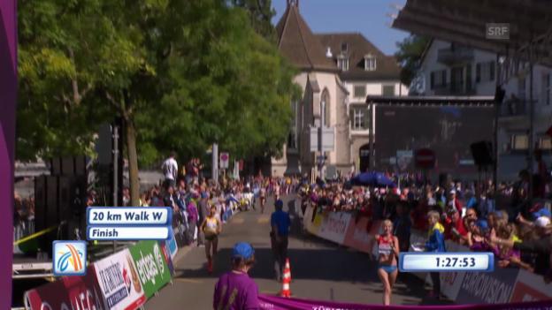 Video «Gehen Frauen: Zieleinlauf nach 20 km» abspielen