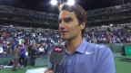 Video «Federer zu seinem Sieg gegen Kevin Anderson (13.3.2014)» abspielen