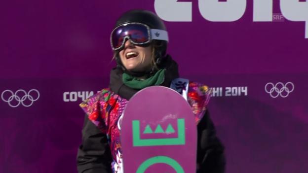 Video «Sotschi: Snowboard Slopestyle Frauen, Qualifikation, 2. Lauf von Isabel Derungs» abspielen