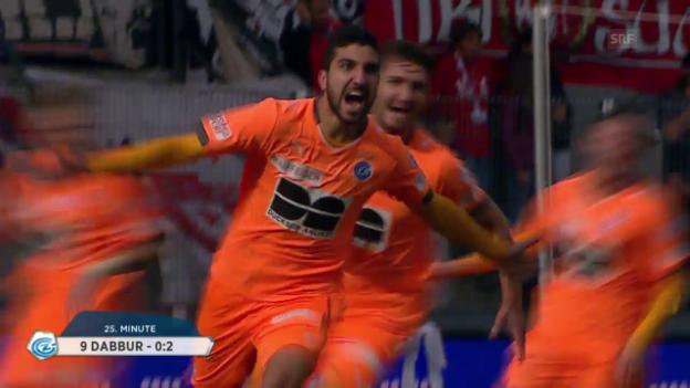 Video «Fussball: Super League, Sion - GC, das 2:0 durch Munas Dabbur» abspielen