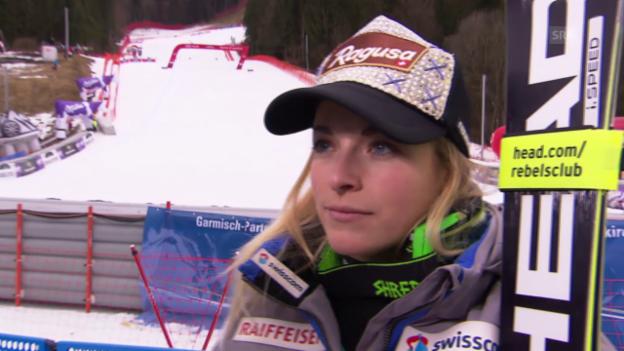 Video «Lara Gut nach ihrem Sieg im Super-G in Garmisch» abspielen