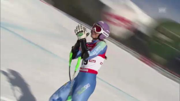 Video «Ski: Tina Mazes Siegerfahrt beim Super-G in St. Anton» abspielen
