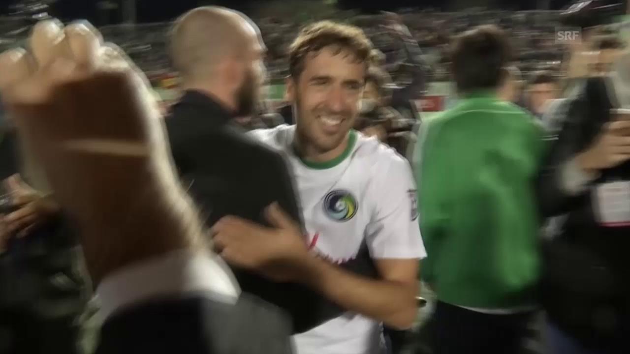 Fussball: Raul feiert und lässt sich feiern (SNTV)