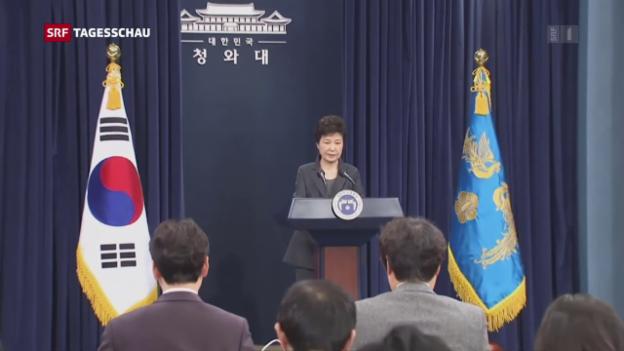 Video «Südkoreanische Präsidentin des Amtes enthoben» abspielen