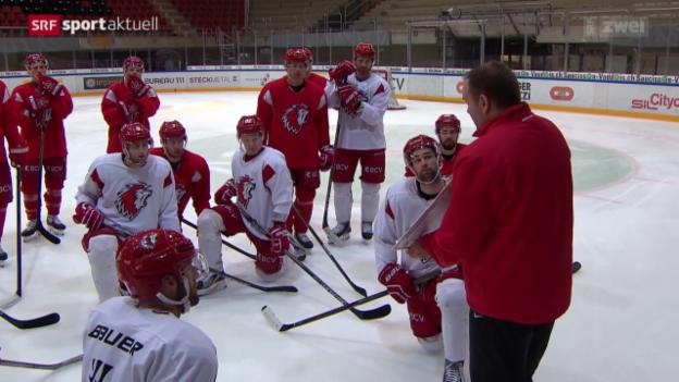 Video «Lausanne-Coach Heinz Ehlers vor dem Eishockey-Cupfinal» abspielen