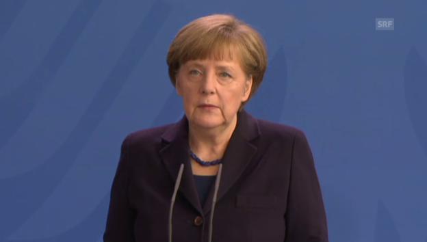 Video «Bundeskanzlerin Angela Merkel zeigt sich vom Absturz tief betroffen» abspielen
