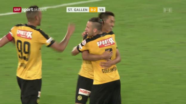 Video «YB feiert zum Saisoneinstand Sieg in St. Gallen» abspielen