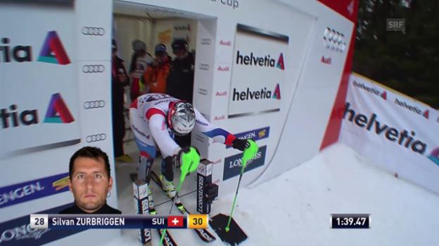 Video «Ski: Der Kombi-Slalom von Silvan Zurbriggen in Wengen» abspielen