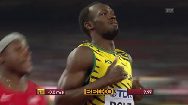 Video «LA: WM in Peking, 100-m-Vorläufe von Justin Gatlin und Usain Bolt» abspielen