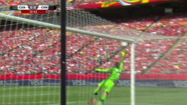 Video «Fussball: Frauen-WM, Kanada - China, Wang Freistoss» abspielen