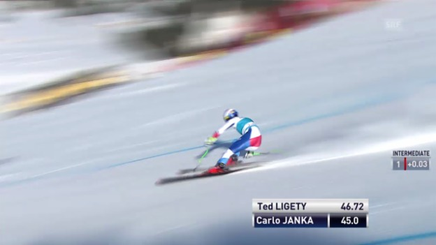 Video «Ski: Weltcup der Männer, Abfahrt auf der Lenzerheide, Die Fahrt von Carlo Janka (12.03.2014)» abspielen