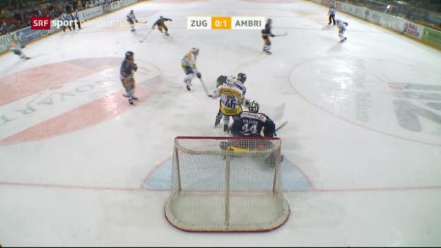Video «Zugs Siegesserie reisst gegen Schlusslicht Ambri» abspielen