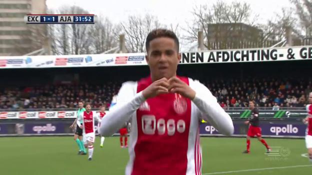 Video «1. Ajax-Tor von Patrick Kluiverts 17-jährigem Sohn Justin» abspielen