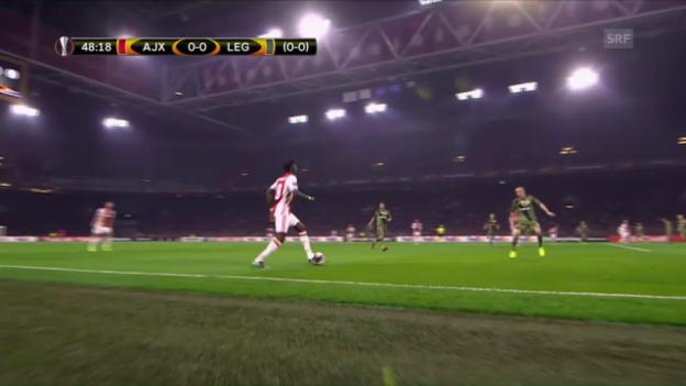 Video «Ajax mit Minimalaufwand gegen Legia» abspielen