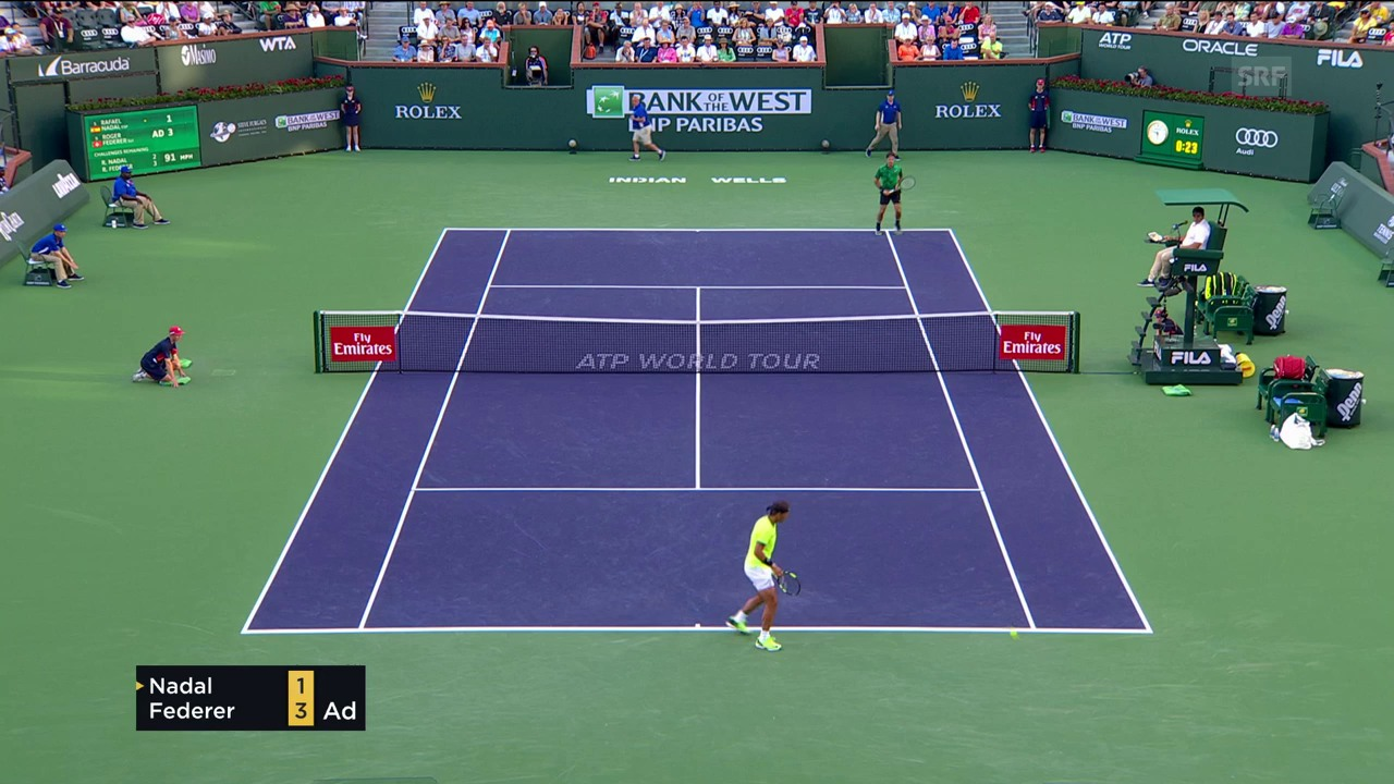Federers Returnwinner zum Doppelbreak