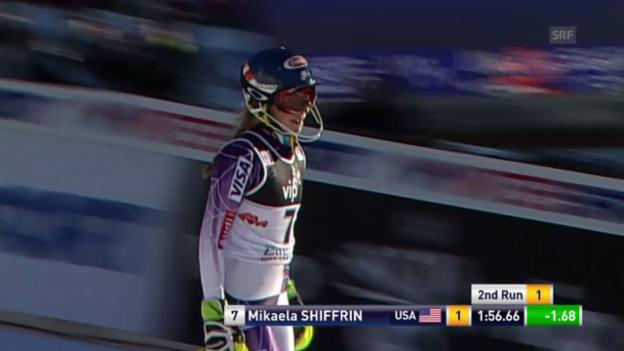 Video «Ski Alpin: Slalom Zagreb, 2. Lauf Mikaela Shiffrin» abspielen