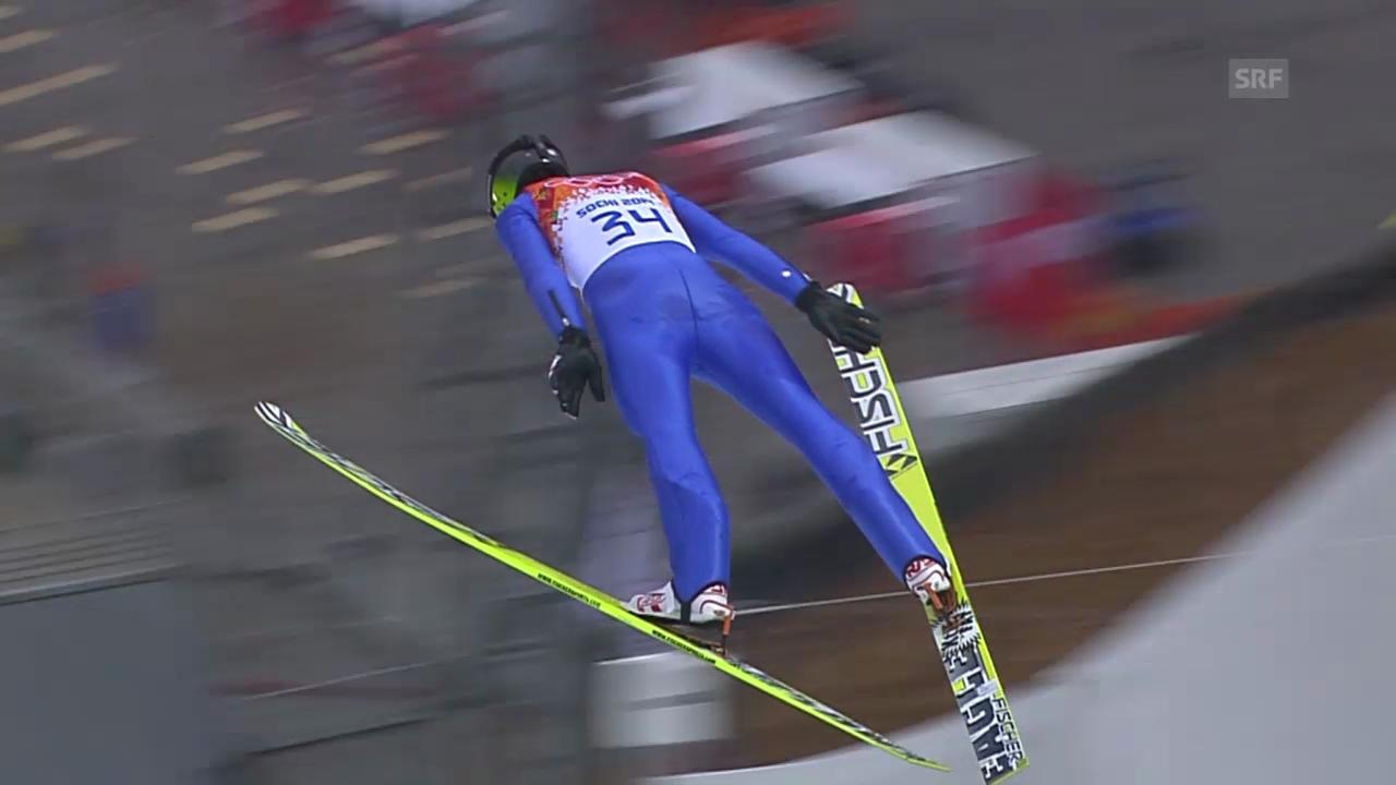 Nordische Kombination: Skispringen Grossschanze, Sprung von Tim Hug (sotschi direkt, 18.2.2014)