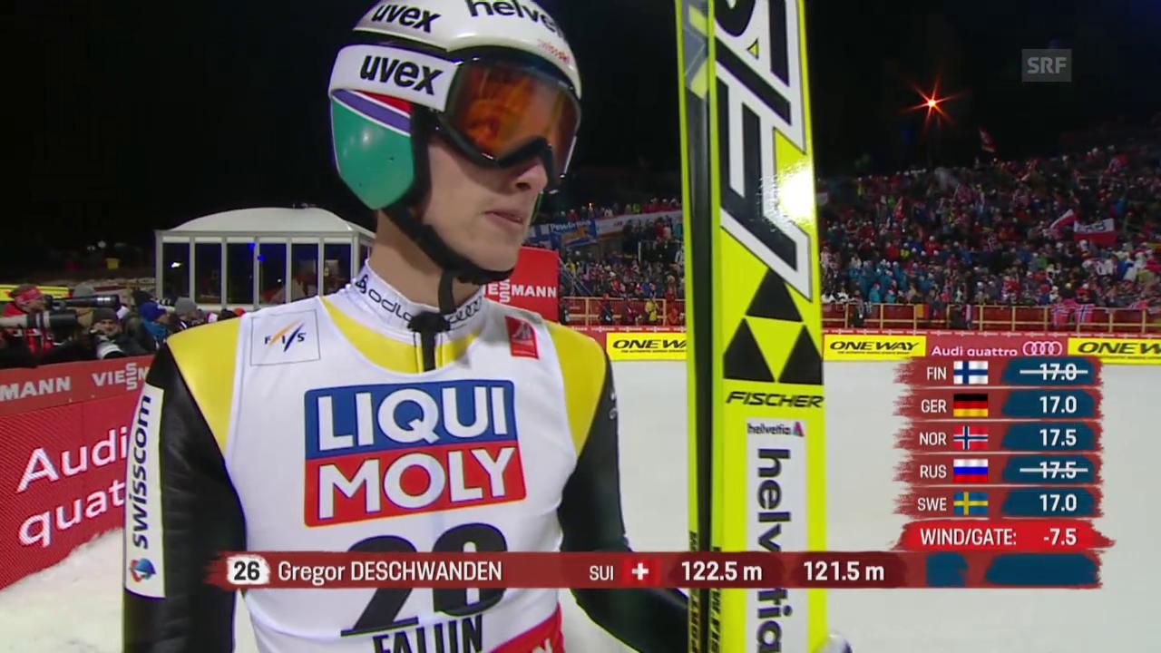 Skispringen: Nordisch-WM Falun, Grossschanze, 2. Sprung von Gregor Deschwanden